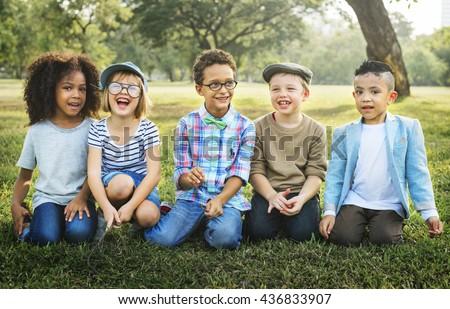 Friendship Trendy Playful Leisure Children Kids Concept #436833907