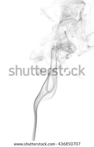 Abstract black smoke on white background from the incense sticks #436850707