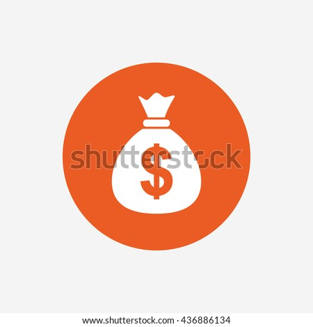 Money bag sign icon. Dollar USD currency symbol. Orange circle button with icon.  #436886134