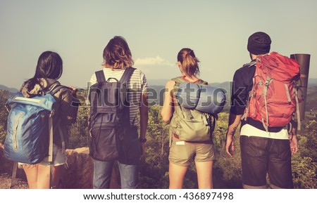 Backpacker Camping Hiking Journey Travel Trek Concept Royalty-Free Stock Photo #436897498