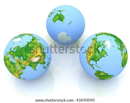 Three globe on a white background #43690090