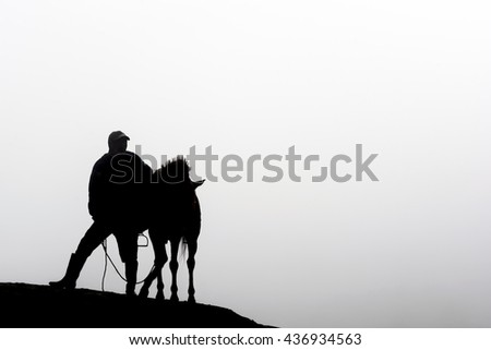 A silhouette of a horsemen and his horse standing on the sand dune with foggy / misty morning background at Bromo-Tengger-Semeru National Park, East Java, Indonesia #436934563