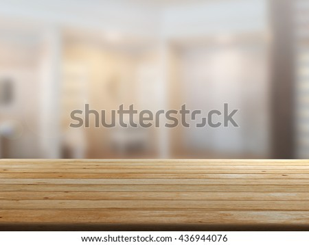 3D rendering Close Up wood table with blur background #436944076