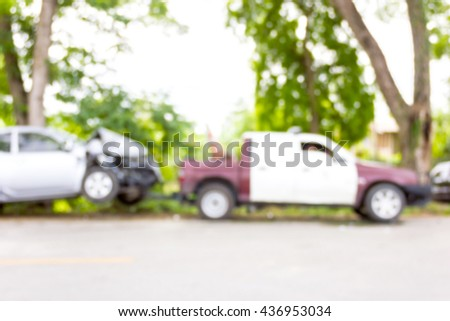 Blur image of accident on the road , use for background. #436953034