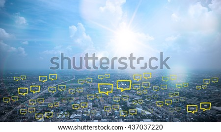 blank space for  text on city and sky background with bubble chat ,business analysis and strategy as concept Royalty-Free Stock Photo #437037220