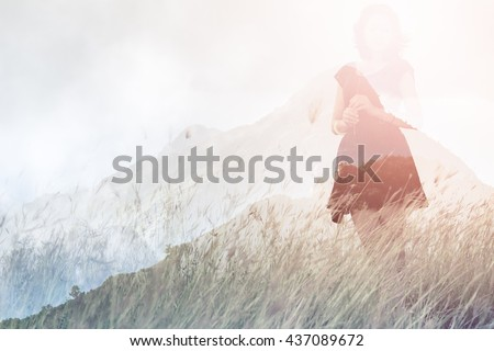 Double exposure of emotions moment of a girl waiting for first summer and background mountain view.