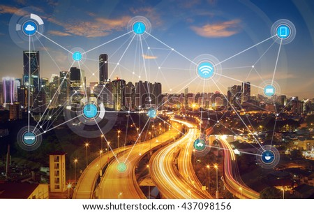 smart city and wireless communication network, abstract image visual, internet of things #437098156