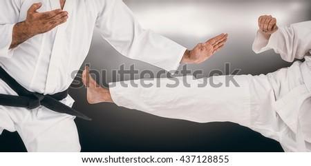 Fighter performing karate stance against spotlight #437128855