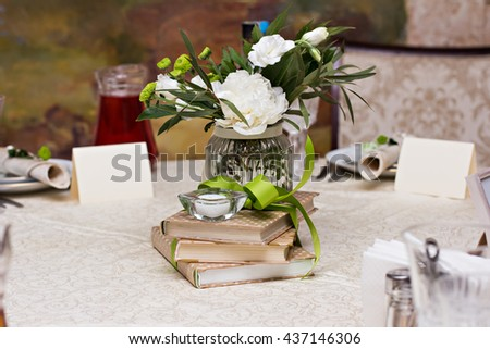 bouquet of white flowers. wedding table decor. festive table setting. festive table decoration. #437146306