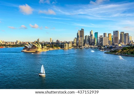 SYDNEY, AUSTRALIA - APRIL 20: Sydney downtown with opera house and circular quay district. April 2016 #437152939