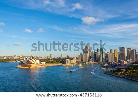 SYDNEY, AUSTRALIA - APRIL 20: Sydney downtown with opera house and circular quay district. April 2016 #437153116