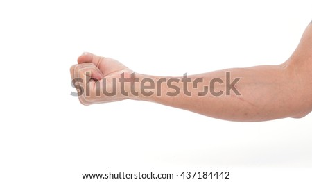 Man hand with fist on white background #437184442