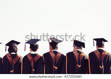 Graduates are stand up in line to get your degree ,vintage style,graduates cap behind isolated. #437202685