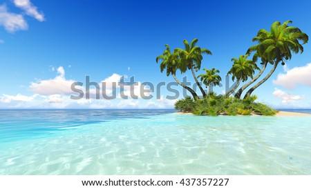 Corals Island Sea 3D rendering #437357227