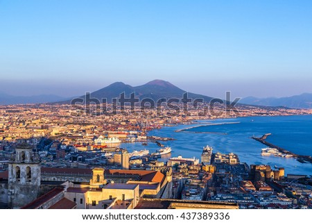 Napoli (Naples) and mount Vesuvius in the background at sunset in a summer day, Italy, Campania #437389336