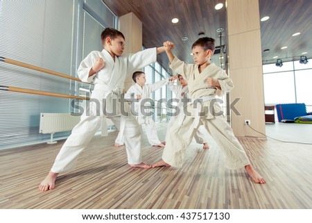 young, beautiful, successful multi ethical kids in karate position Royalty-Free Stock Photo #437517130