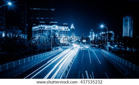 light trails in the downtown district,hongkong china. #437535232