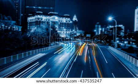 light trails in the downtown district,hongkong china. #437535247