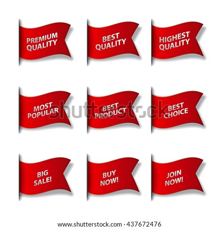 set of different advertising flags and stickers in red color, sale, premium, best and quality #437672476