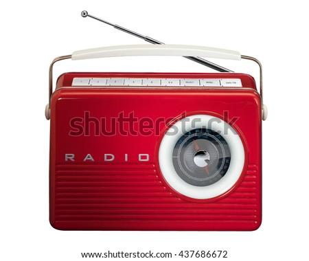 Red retro radio isolated on white background  #437686672
