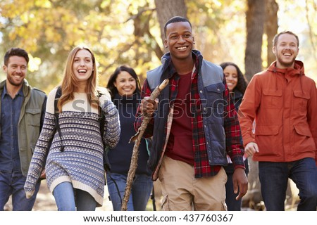 Group of six friends hiking together through a forest #437760367