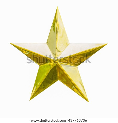 Golden Christmas Star isolated on white Background. Top View Close-Up Gold Star render (isolated on white and clipping path)                                #437763736