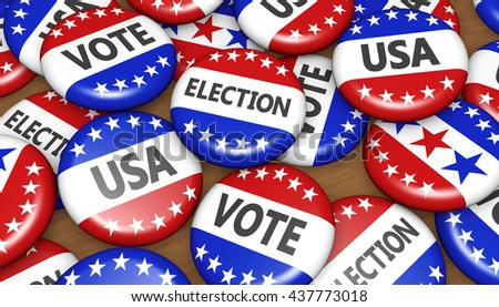 US presidential election in USA vote concept with sign on campaign badges banner background 3D illustration. #437773018