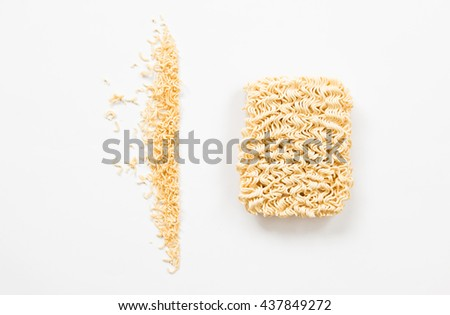 Top view of instant noodle isolated on white background.  #437849272