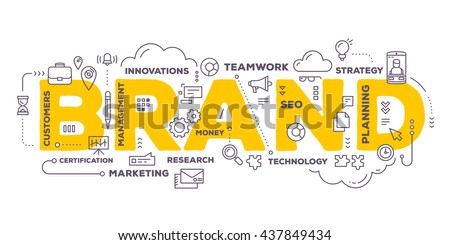 Vector creative illustration of brand word lettering typography with line icons and tag cloud on white background. Branding  technology concept. Thin line art style design of word brand for branding Royalty-Free Stock Photo #437849434