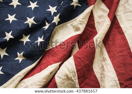 Old American flag background for Memorial Day or 4th of July or Dependence Day