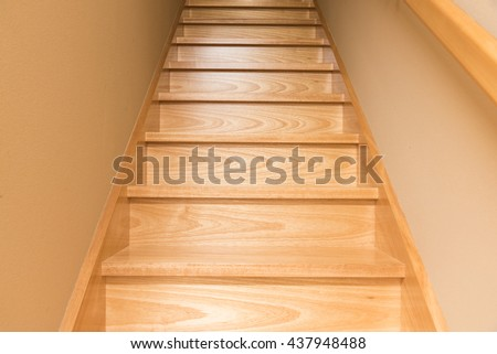 Wooden staircase, classic Japanese stairs  #437948488