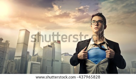 Superhero protecting the city