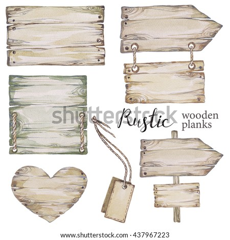 Handpainted collection watercolor wood planks clipart. Wood pointer, board,wooden heart. Rustic illustration.Perfect for blogs,lettering,pattern,invitation.