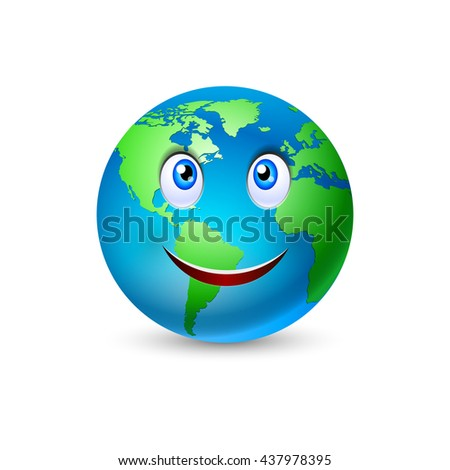 Raster version. Illustration of the smiling planet Earth on white