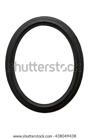 Black wooden vintage oval picture frame isolated on white background