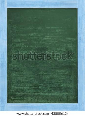 Vintage rectangular dark green chalkboard/blackboard with light blue wood frame, with traces removing or erase. #438056134