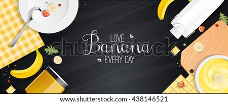 set banana food and drink for your design presentation, top view, package template for juice or dairy product, vector design. #438146521