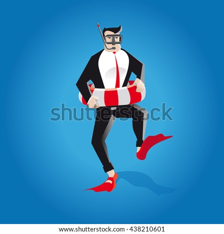 time for holidays from business. a businessman goes on vacation from work on the beach, with flippers, life jacket and diving mask to relax and fun.  #438210601
