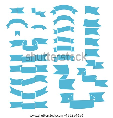 Blue ribbons, big hand drawn set of design elements, banners, labels isolated on white background. Set of cute tapes. Vector Illustration. #438254656
