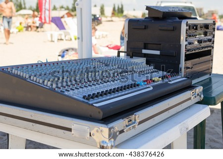 Sound equipment for Summer beach party #438376426