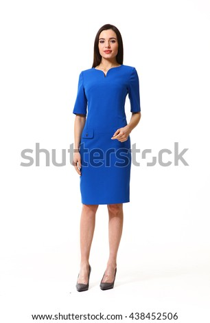 indian eastern brown hair business executive woman with straight hair style in blue short sleeve formal  party dress high heel shoes going full body length isolated on white #438452506