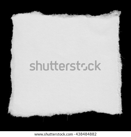 Torn White Paper Square Scrap Isolated on Black Background