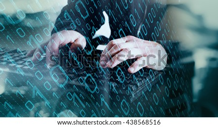 Cyber attack in cyberspace Royalty-Free Stock Photo #438568516