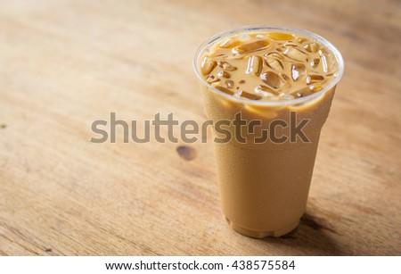 Cold Coffee On Wood #438575584