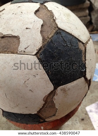 Old used football or soccer ball .euro 2016, 2018 fifa world cup #438590047