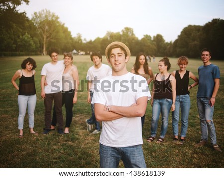 large group of friends together in a park having fun #438618139