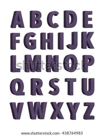 Dark fabric knitted alphabet. Set of fabric alphabet. 3D illustration. Can be used in graphic design. #438764983