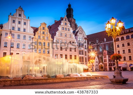 Market Square landmark at sunrise. Wroclaw, Poland #438787333