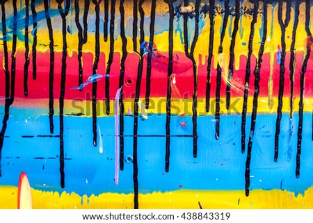 Painted background table with red, yellow and blue #438843319