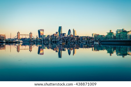 Panoramic View of City London in UK. Royalty-Free Stock Photo #438871009